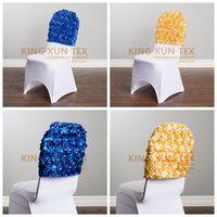 10 30 50 100pcs Satin Rosette Chair Cap For Banquet Wedding Spandex Chair Cover Decoration