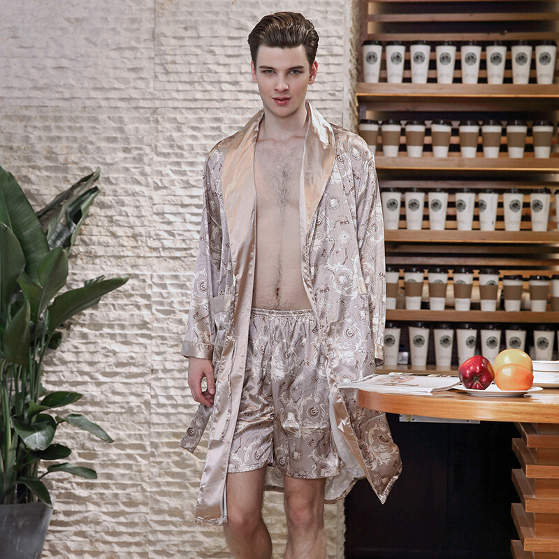 Demiesilk Mens Imitation Silk Robe Sets Two Pieces Robe Sets Long Sleeve Floral Elastic Waist Sleevewear with Sleep Shorts