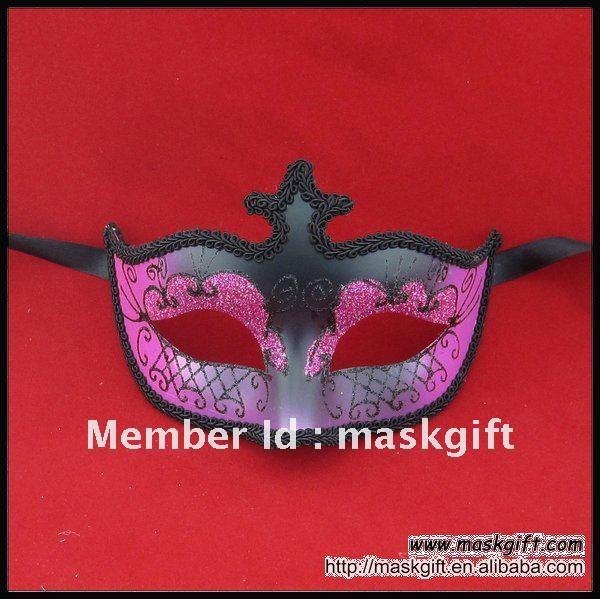 Ручная покраска ярко розовый и черный венецианский стиль Хэллоуин Вечерние Маски, Маскарадная маска