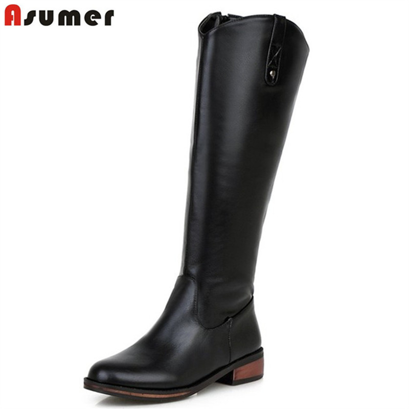 Asumer 2017 new plus size 32-43 fashion round toe low heels mid high boots shoes zipper black red purple women winter boots