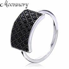 d5b11006a22a Moonmory ancho rectángulo 925 mini nunca gran ZIRCON anillo negro mujeres  francés popular anillo de plata joyería