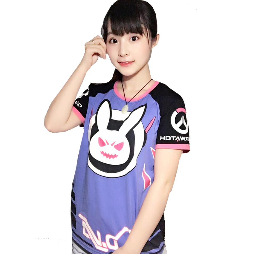 Game Character OW D.va T-shirt Mens T shirts Tee Shirt Dva Tracer Mercy McCree Soldiers 76 Halloween Anime Cosplay Women T shirt