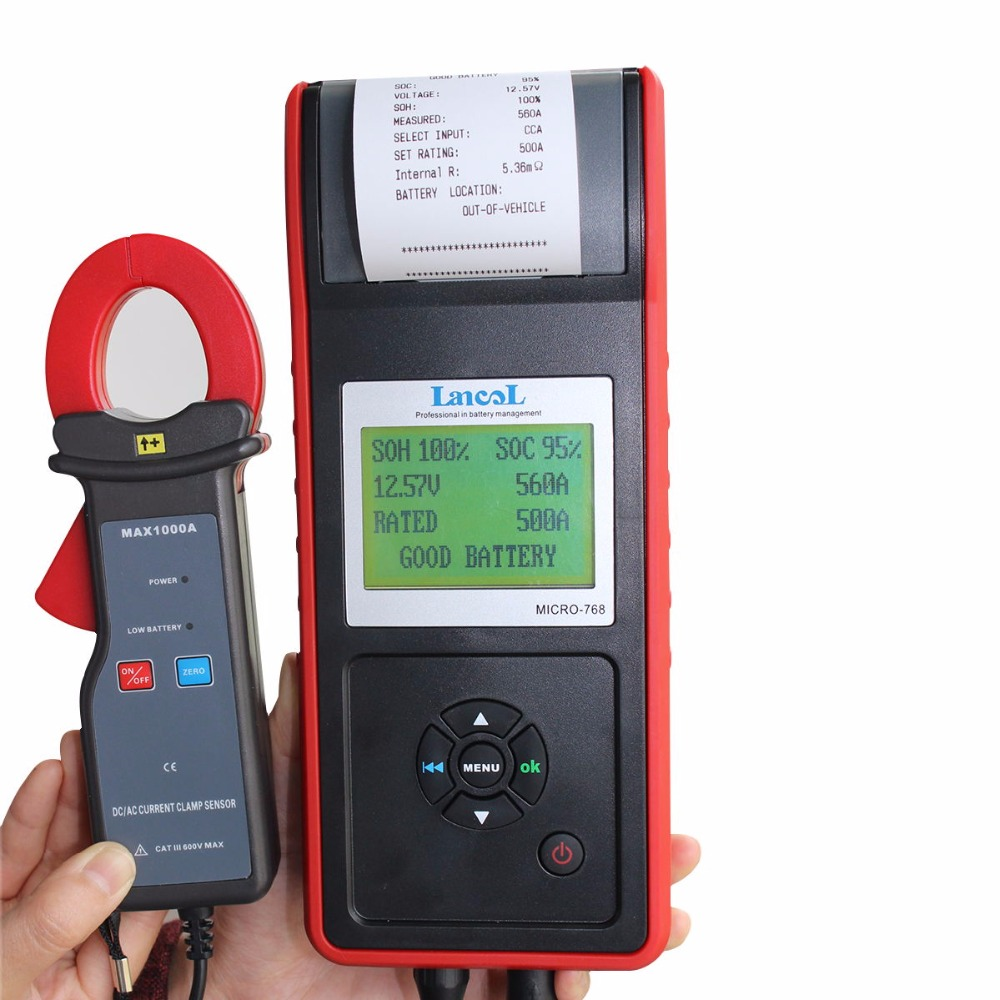 Lancol 12 v Voiture-détecteur testeur de charge de batterie avec imprimante MICRO-768A/Automobile batterie De Voiture analyseur De Diagnostic Outil
