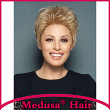Medusa hair products: Modern Synthetic pastel Lace front wigs Short pixie cut styles blonde wig with bangs Peruca loira SW0266B