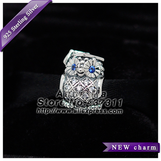 NEW S925 Sterling Silver Graduate Owl with Clear CZ and Blue Crystal Charm Beads Fit European Charm Bracelets & Necklaces BE216
