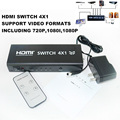 10pcs/lot 4 port HDMI switch 4x1 converter switcher adapter Support audio 3D video 720p 1080i 1080p free shipping free shipping