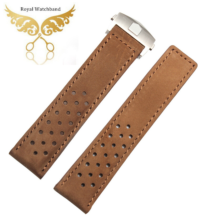 Watch accessories 22mm Brown Genuine Leather Watch Band Starp Bracelets Silver Butterfly Stainless Steel Clasp Buckle suunto core brushed steel brown leather
