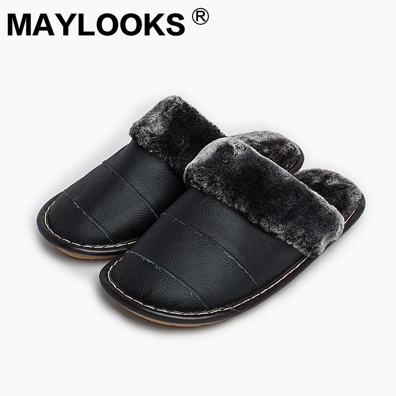 Sandal pria, Musim dingin kulit asli tebal dengan mewah rumah dalam ruangan Non - Slip sandal termal, 2018 penjualan panas baru Maylooks M-8816