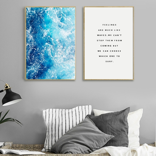 Ocean Waves Wall Art Poster And Prints For Living Room Nordic Decoration Blue Canvas