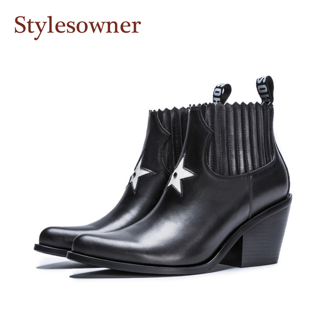 Stylesowner Martin Boots Pointed Toe Five Stars Decor Black Nude Bootie Genuine Leather Chunky Heel Motorcycle Boots Slip On