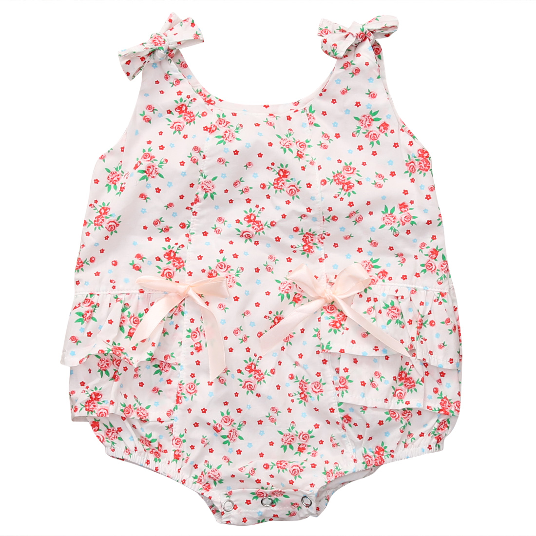 Getting them dressed quickly to catch a sunny day is even easier with this lovely 2 pack of rompers. The sleeveless design will help to keep them cool, and w.