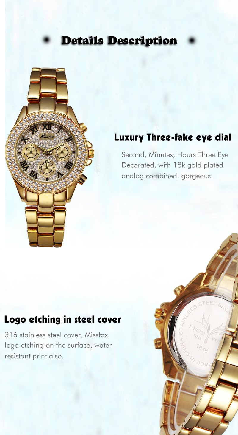 MISSFOX Women Watces Luxury Watch Women Fashion 18 Relogio Feminino Chronograph Roman Gold Ladies Watches Quartz Wristwatches 10