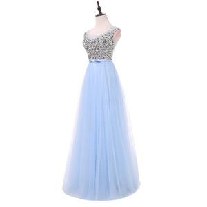 Image 3 - FADISTEE 새로운 도착 럭셔리 긴 스타일 드레스 블링 구슬 장식 tulle 이브닝 드레스 파티 파티 크리스탈 진주 바닥 길이