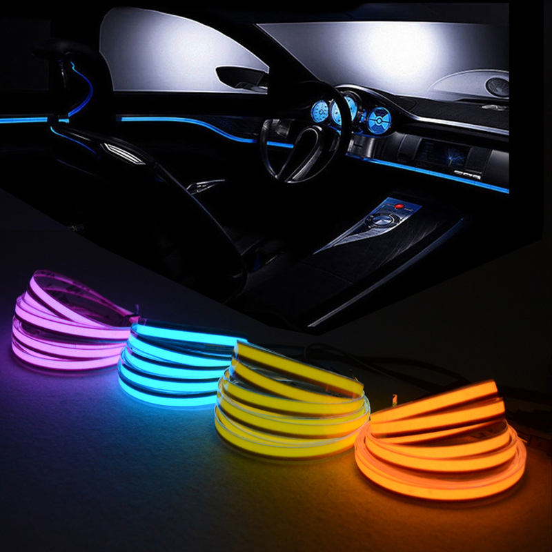 new 8 colours flexible electroluminescent tape el wire glowing with dc 12v cigarette lighter car. Black Bedroom Furniture Sets. Home Design Ideas