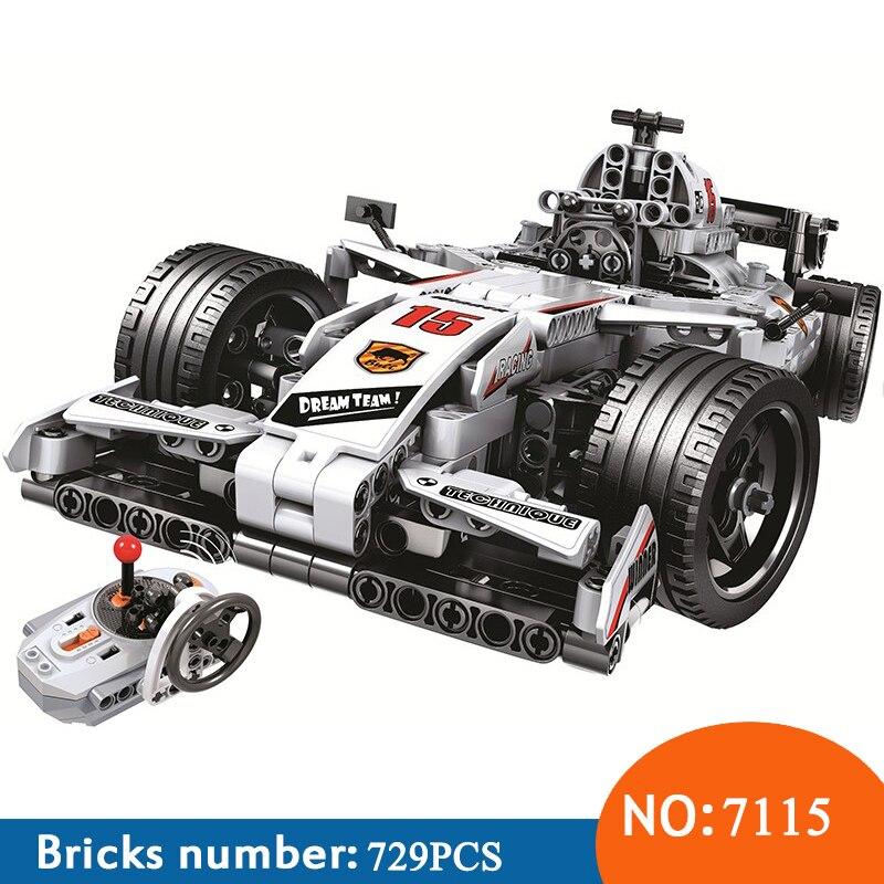 Winner 7115 729 pièces Technic télécommande RC voiture de course électrique blocs de construction jouets pour enfants