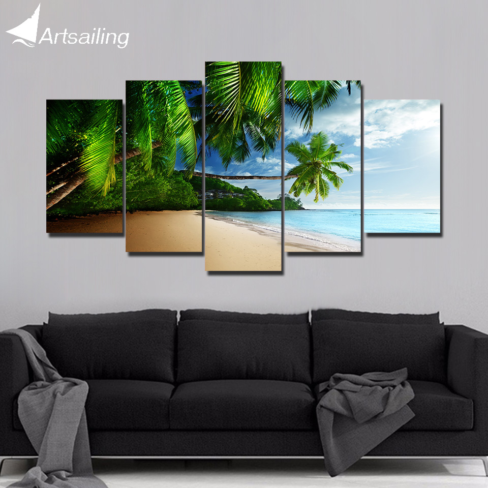 Us 5 99 40 Off Artsailing 5 Panel Wall Art On Canvas Coast Coconut Home Decoration Accessories Wall Pictures For Bedroom Framed Poster Ny 5778 In