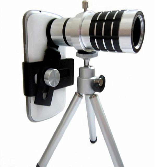 Teleobjetivo de 12x telescopio óptico universal lente de la cámara con el trípode para iphone 4 4s 5 5s 6 samsung galaxy smartphone móvil