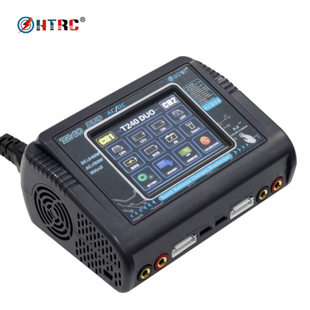HTRC T240 DUO AC 150W DC 240W Touch screen Dual Channel 10A RC Balance Charger discharger