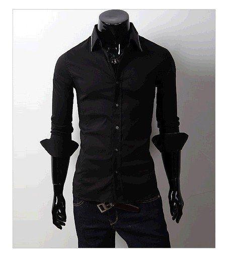 Free Shipping 2012 New Mens Shirts Casual Slim Fit Stylish Hot Dress Shirts Color:White,Black Size:M-L-XL-XXL
