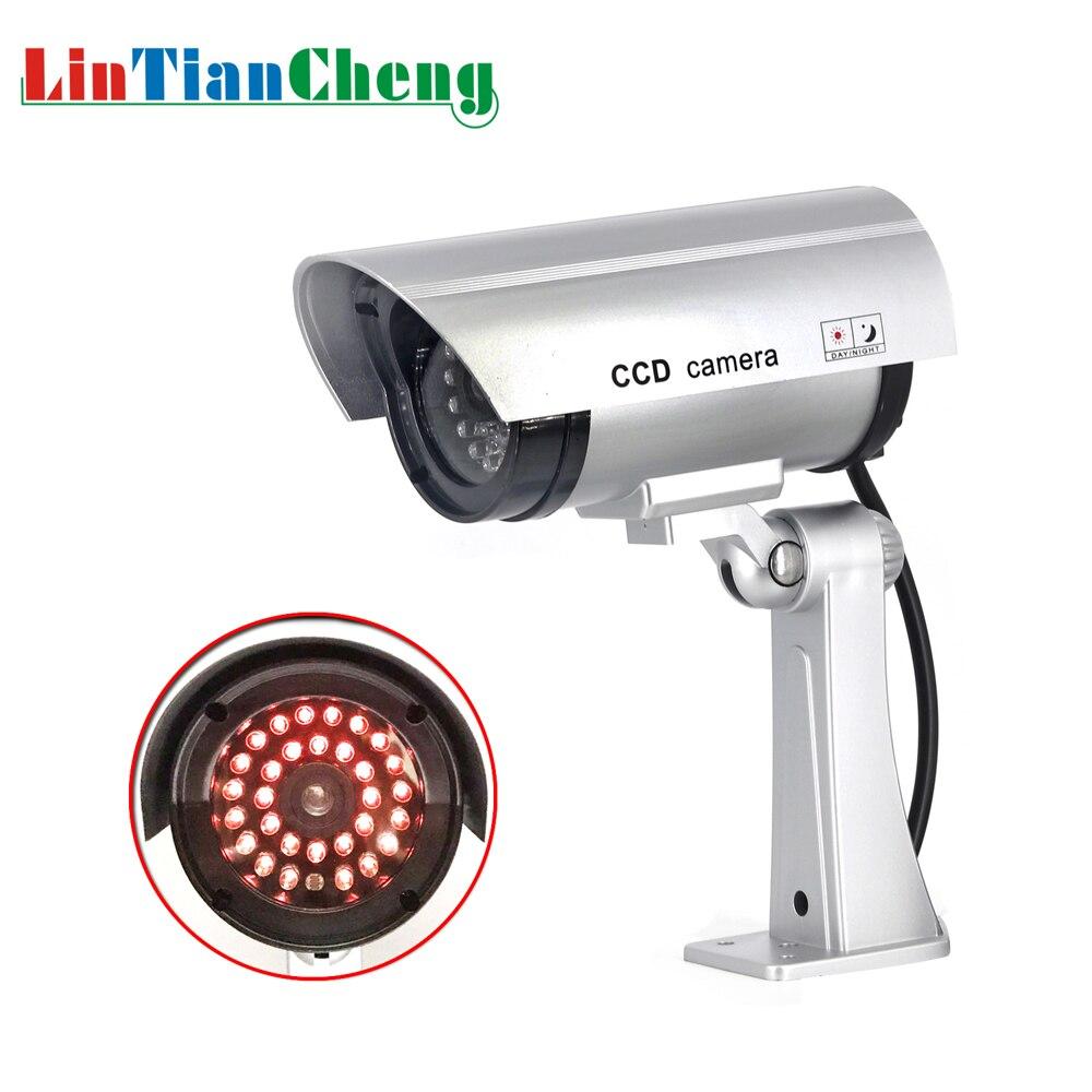 Fausse caméra de vidéosurveillance factice balle étanche extérieure caméra de Surveillance de sécurité intérieure solaire avec lumière LED livraison gratuite