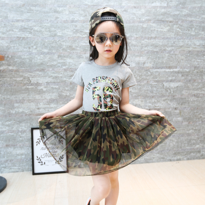 2PCS New Girls Sets Letter Summer Kids Clothes Cotton Girl Camouflage Suits T-Shirt+Skirt Sets 2-6 Years Old Children Clothing