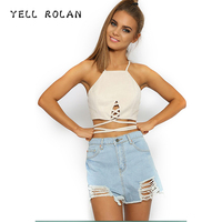 YELL ROLAN Women 2018 Summer Crop Top Female Fashion Lace Up Halter Tank Top Sexy Club