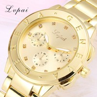 Lvpai Brand Geneva Gold Fashion Unisex New Round Wristwatches Women   Watch     Dress     Watch   Vintage Clock Lady Quartz   Watch