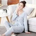100% Хлопок одежда для беременных Пижамы Беременных женщин Пижамы Кормящих Вершины + Брюки Грудное Вскармливание Ночная Рубашка для Беременных Женщин