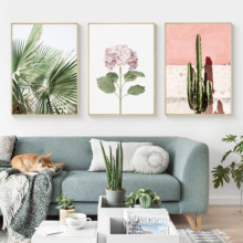 Pink Cactus Green Plant Flower Creative English Canvas Painting Art Abstract Print Poster Picture Wall Nordic Home Decoration