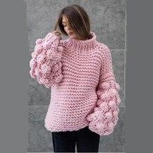 ae528472b860 Mano de la muchacha de punto mujeres suéter 2018 Otoño Invierno grueso  caliente linterna de manga larga cuello alto suéter Tops .