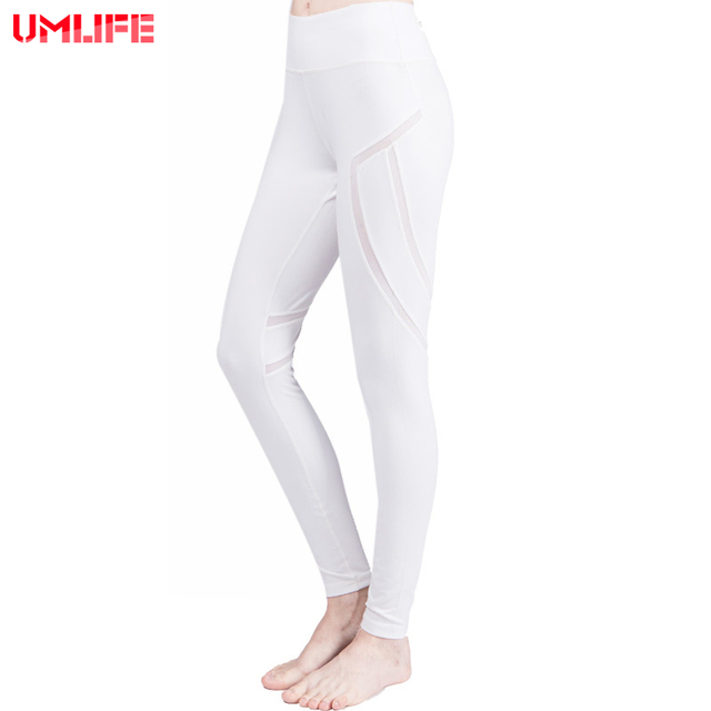 UMLIFE 2017 Yoga Pants High Waist Woman Yoga Legging White Mesh Splice  Leggings Sport Women Fitness Running Invisible Pocket 5f3875f9e4a