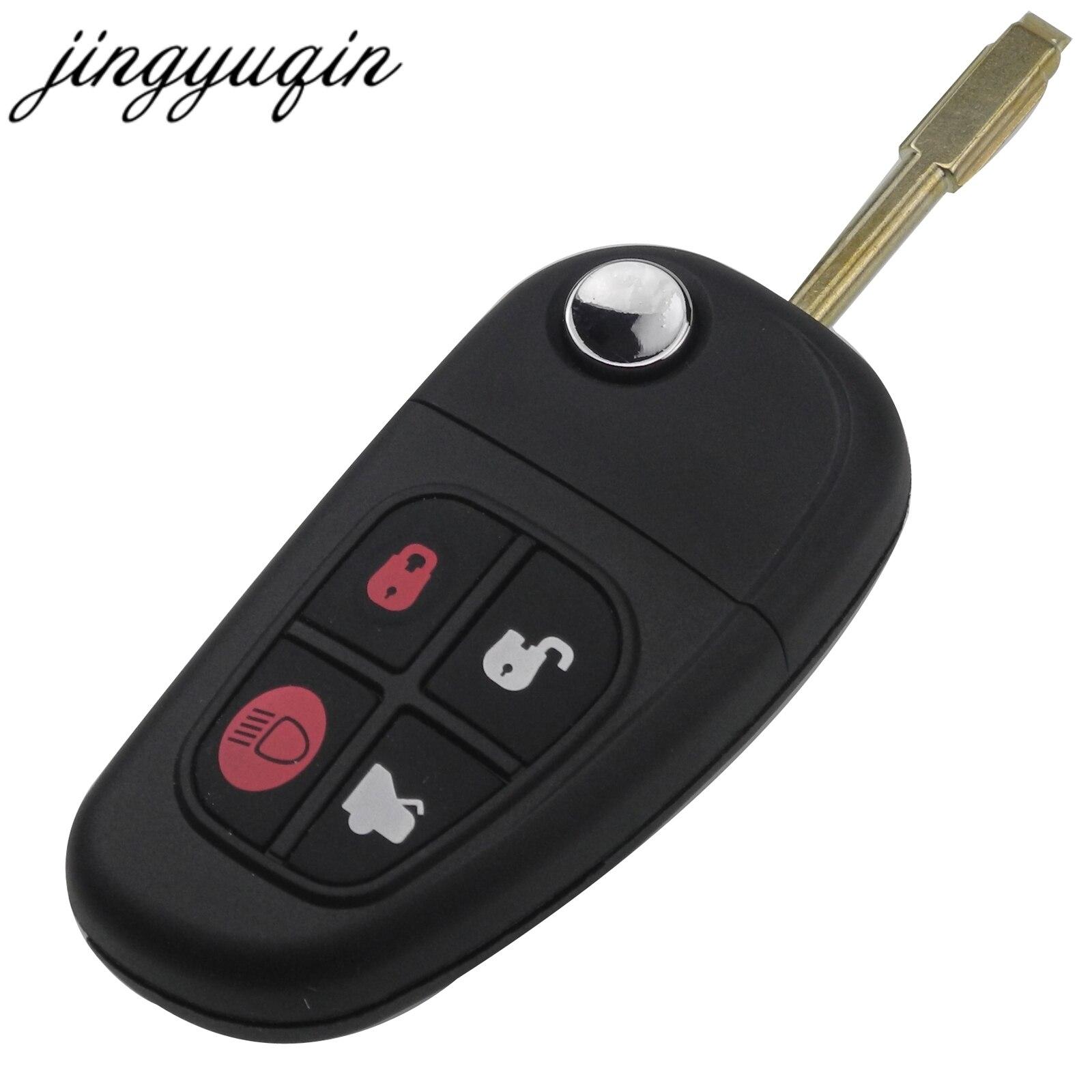 Jingyuqin 4 Bouton Flip Pliant Clé De Voiture À Distance Fob Shell Pour Jaguar X-Type S-Type XJ XK type Clé Cas de Remplacement