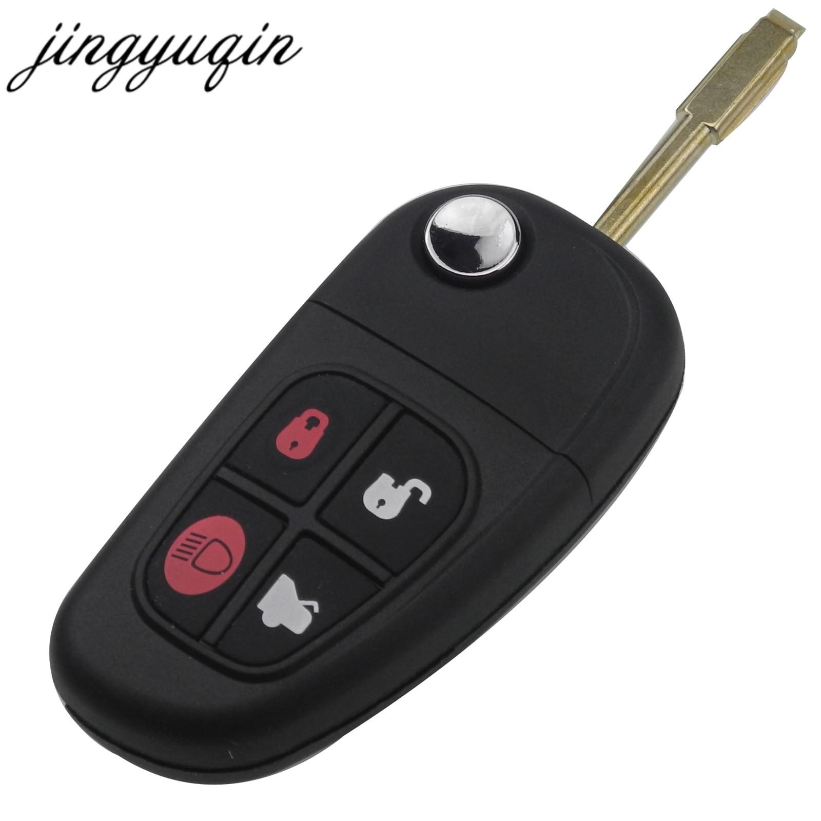 Jingyuqin 4 Button Flip Folding Remote Car Key Fob Shell For Jaguar X-Type S-Type XJ XK Type Key Case Replacement
