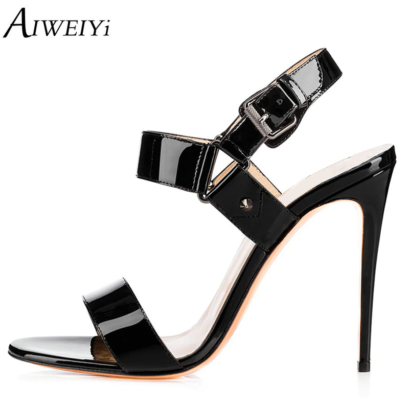 AIWEIYi 2018 Ankle Strap Women Sandals Summer Shoes Woman Black Red Open Toe Stiletto High Heels Party Dress Sandals Shoes red high heels women shoes open toe ankle strap blue sandals stiletto chic fringed party d orsay shoes ladies large size 16