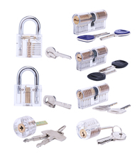 Free Shipping Transparent Lock 7 pieces for Locksmith Practicing Training Skill Beautiful and Practical