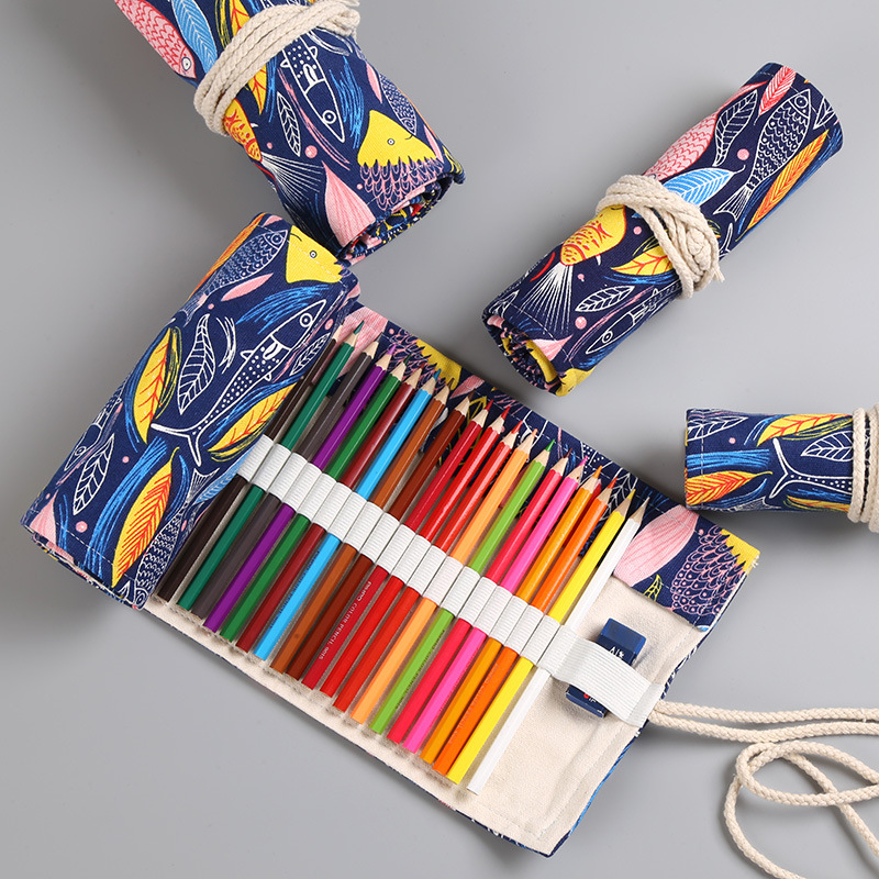 Creative Stationery Pencil Case 36/48/72 Holes Pen Curtain Colorful Fish Cartoon Canvas Wrap Roll Up Pencil  Pen Brush Bag Gift Creative Stationery Pencil Case 36/48/72 Holes Pen Curtain Colorful Fish Cartoon Canvas Wrap Roll Up Pencil  Pen Brush Bag Gift