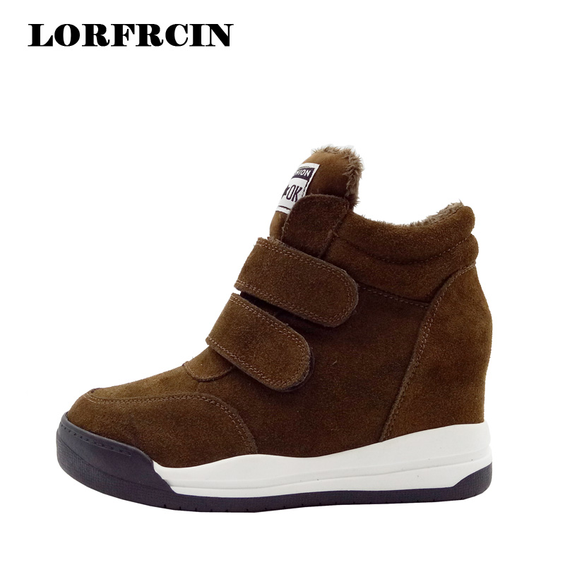 LORFRCIN Winter Boots Women Genuine Leather Hidden Heel Ankle Boots Warm Snow Shoes Woman High Increasing Platform Wedge Boot tie up pompons hidden wedge snow boots