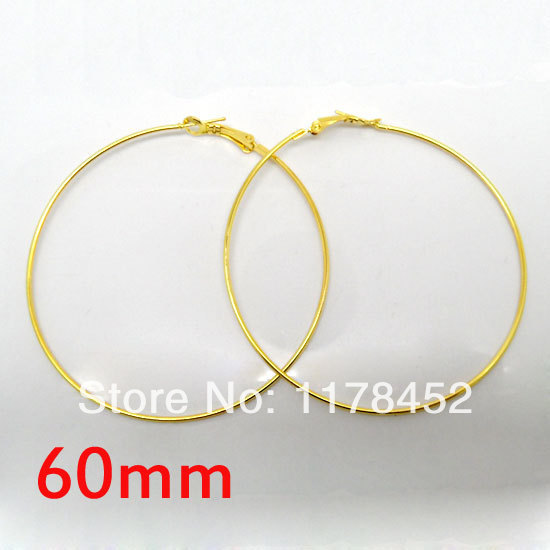 20 Pcs Gold Basketball Wives Earring Hoops Dangle Drop 60mm Dia For Jewelry Making DIY Accessories