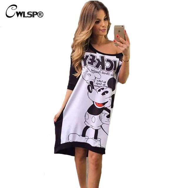 Plus Size Women's Autumn Half Sleeve Dress Fashion Cartoon Mickey Letter Printed Dress O-neck Fit Vestidos Women Clothing QZ1680