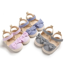 Baby Girl Summer Cotton Canvas Stripe Pattern Shoes Anti-Slip Shoes Bowknot Casual Newborn Girl Shoes Beach Shoes