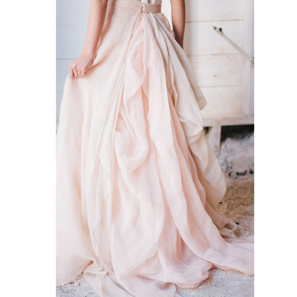 Handmade Blush Pink Chiffon Long Ruffles Skirts For Pretty Bridal Custom Made Zipper Pleated Floor Length Female Skirt 2018