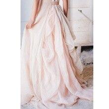 Handmade Blush Pink Chiffon Long Ruffles Skirts For Pretty Bridal Custom Made Zi