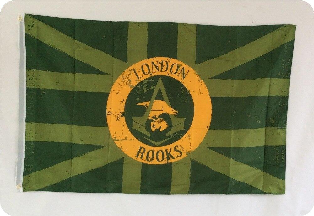 LONDON ROOKS STOR FLAGG Polyester Banner Flagga 80 * 120 cm GRATIS FRAKT