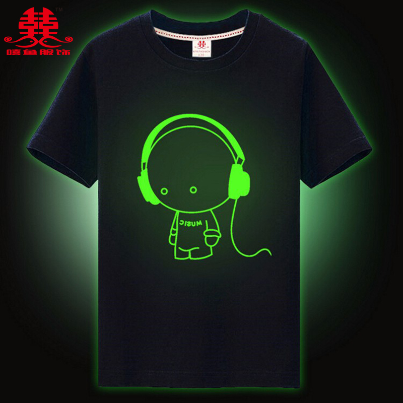xiyu brand top kids t-shirt boys Children's T-shirt for girls noctilucence Luminous t-shirt boys kids night shining short Tees