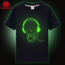 Синьхуа международный бренд топ дети футболки мальчики детская Футболка для девочек noctilucence Световой футболки мальчики дети ночь блестящие...(China (Mainland))