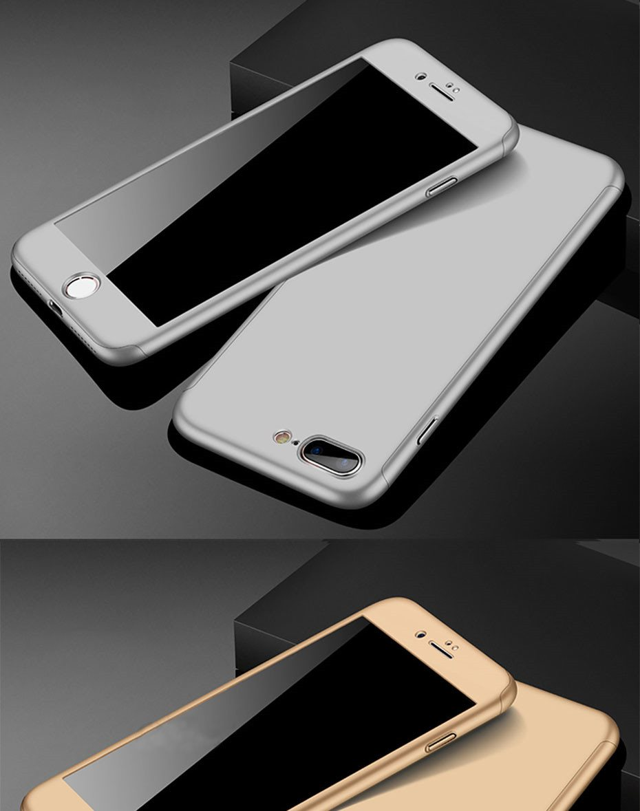 360 Degree Full Cover Phone Shell With Tempered Glass Case For iPhone Models 17