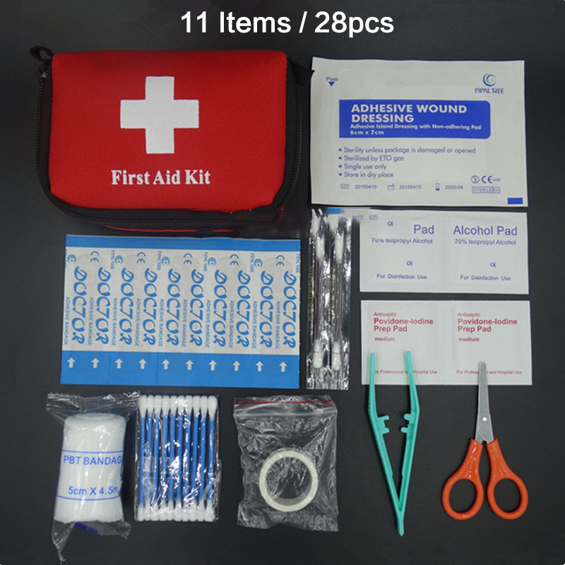 11 Items/28pcs Portable Travel First Aid Kit Outdoor Camping Emergency Medical Bag Bandage Band Aid Survival Kits Self Defense