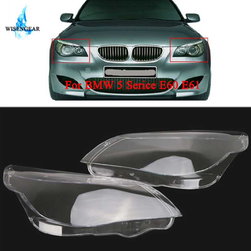 WISENGEAR 2x Headlight Headlamp Cover Clear Lenses Lens Caps For BMW 5 Series E60 E61 520i 520d 523i 525i 535d 540i 545i 550i /