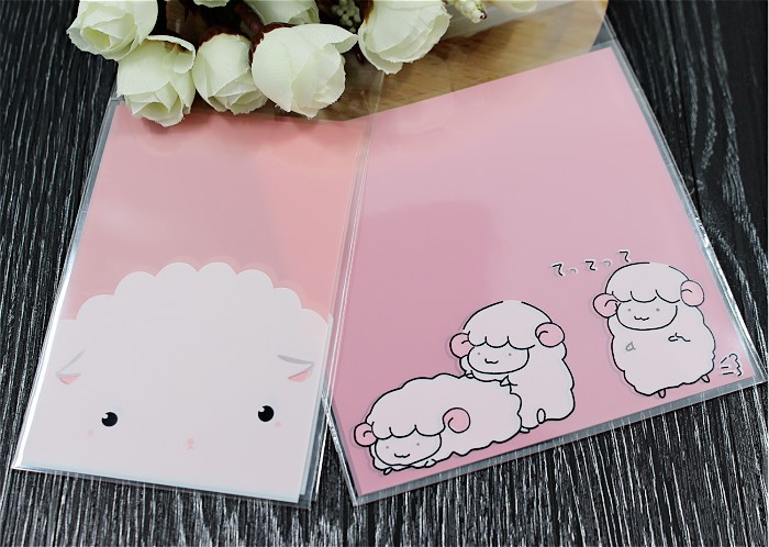 Us 3 04 5 Off 100pcs Lot New Product Cookie Plastic Bags Pink Little Sheep Self Adhesive 7x10cm In Gift Wring Supplies From Home