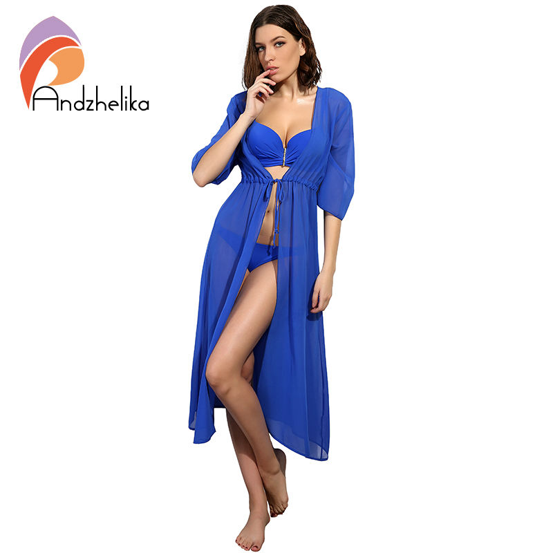 Andzhelika Swimsuit Cover Up 2020 Women Sexy Beach Cover-Ups Chiffon Long Dress Solid Beach Cardigan Bathing Suit Cover Up